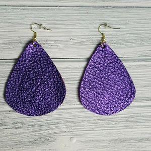 Purple metallic leather earrings